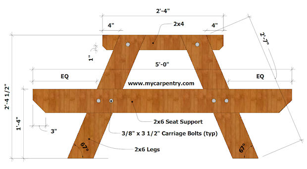 Picnic Table End View Diagram C 8 Foot