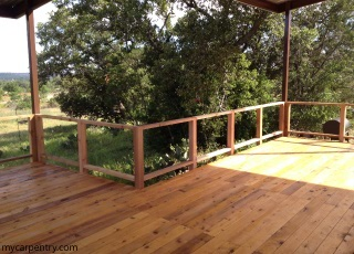 Cedar Deck with posts and railing