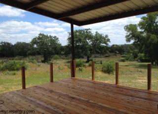 Cedar deck with rail posts