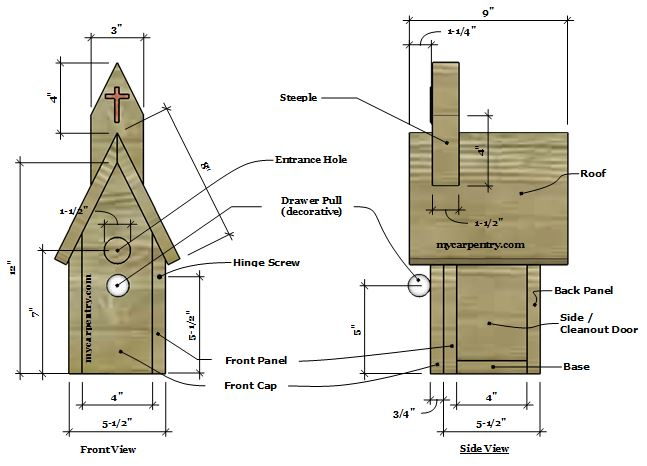 Church Birdhouse Plans - Bird house Plans that Resemble a Country ...