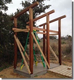 Outdoor Shower with Posts Braced and Rafters Installed