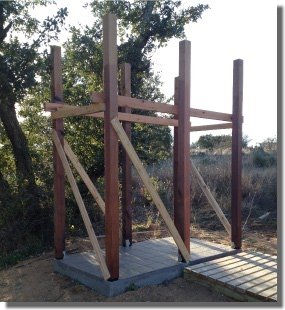 Outdoor Shower with Posts Plumbed and Braced