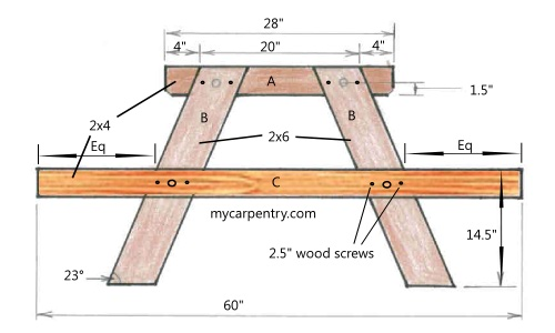 8' Wood Picnic Table Plans