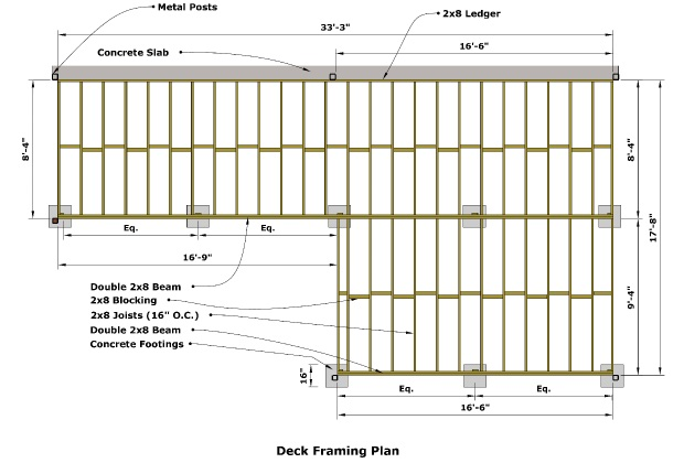 Deck Framing Diagram : Cedar deck designing and building a using western