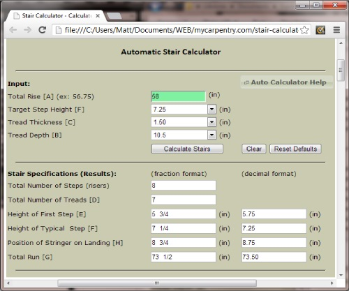 Staircase calculator video search engine at for Build a house calculator free