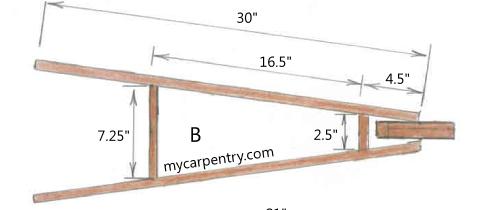 Wooden Wheelbarrow Frame - Top View