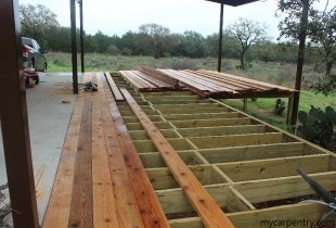 Laying out the cedar deck boards