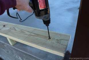 Drilling the Anchor Bolt holes for the ledger