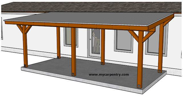 Building A Patio Cover Plans For An Almost Free Standing Roof