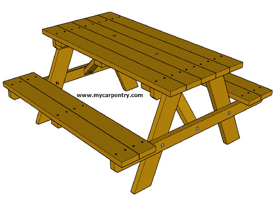 Picnic Table Designs - Wooden picnic table without benches